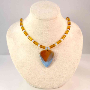 Enameled Guitar Pick Blue and Amber Necklace - Copper and Glass