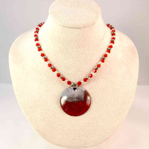 Enameled Red and White Necklace - Copper and Glass