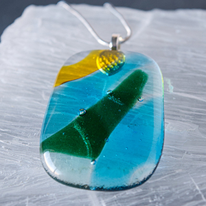 Field and Sky Fused Glass Pendant - Silver
