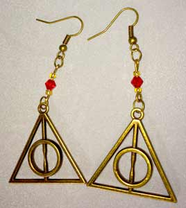 Deathly Hallows Earrings - Antique Gold