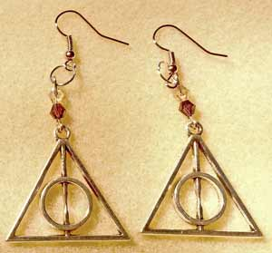 Harry Potter - Deathly Hallows Earrings - Antique Silver
